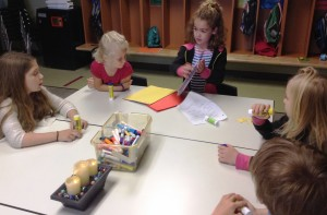 Sophie taught us the art of scrapbooking. We all had the opportunity to create a page using a picture of our class.